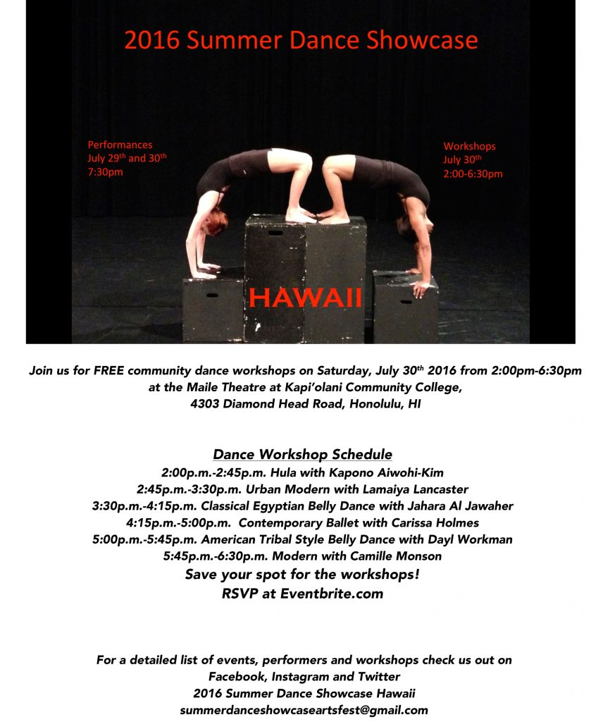 2016 Summer Dance Showcase Full Page Workshop Schedule Flyer