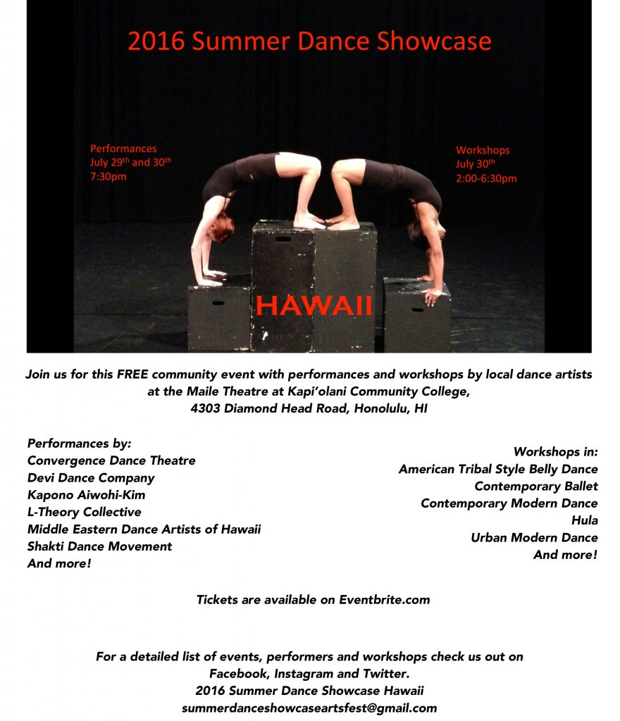 2016 Summer Dance Showcase Hawaii Full page flyer